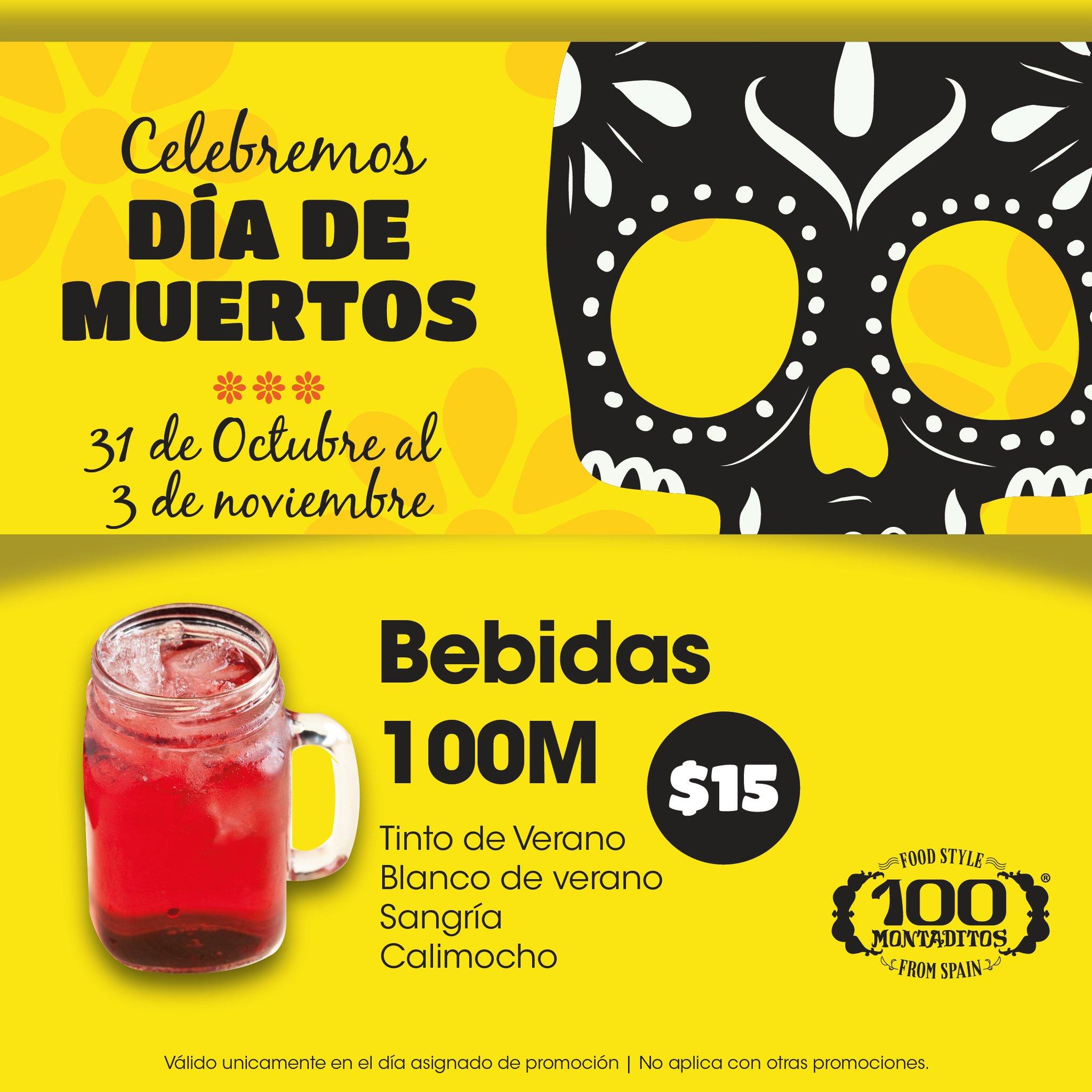 100 Montaditos: Bebidas a $15 (CDMX)