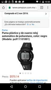 Amazon: reloj Puma digital pu911101001 a $571