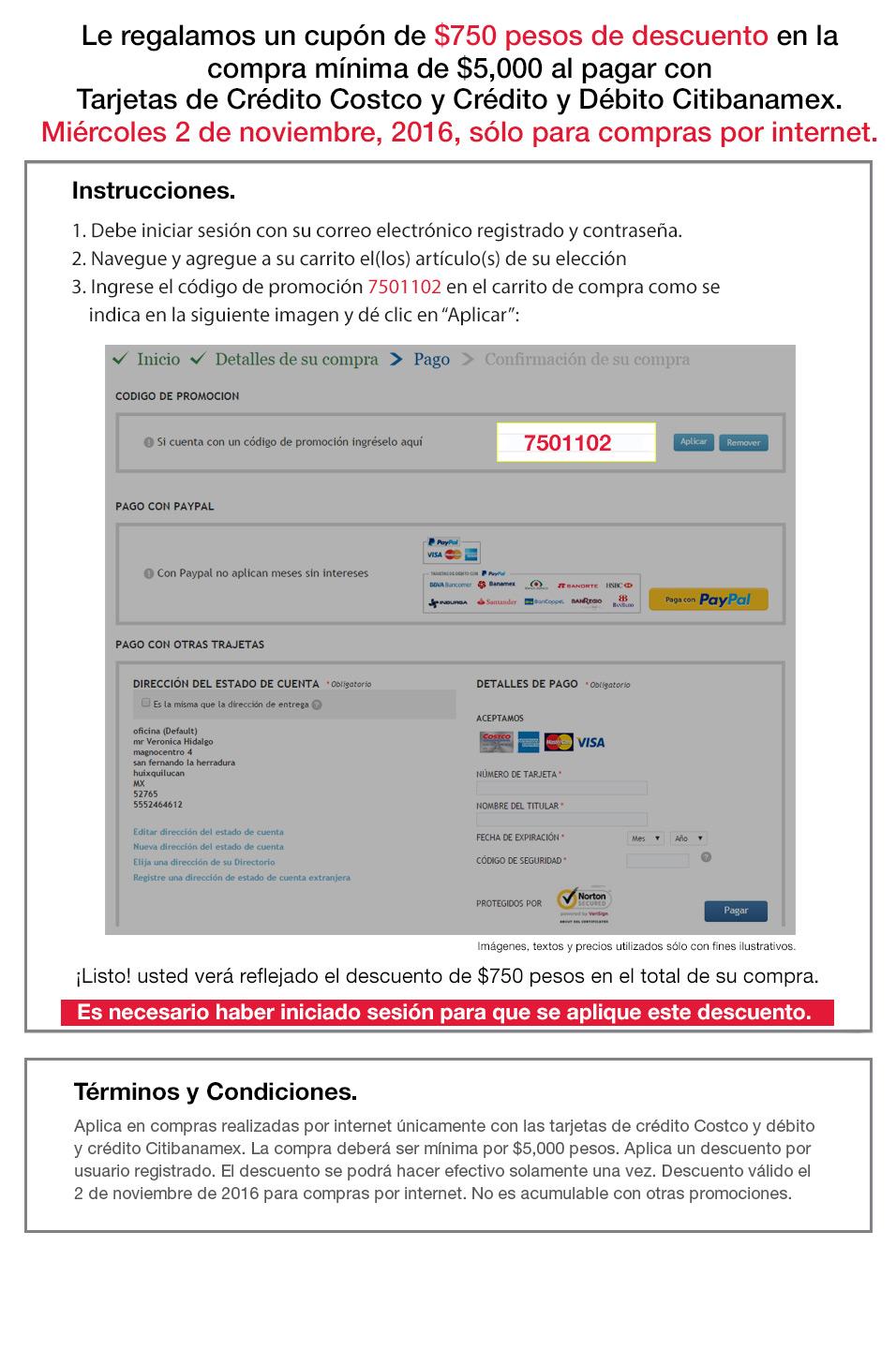 Costco en línea: Cupon de $750 de descuento en compras mayores a $5,000 con tarjetas Costco y Citybanamex