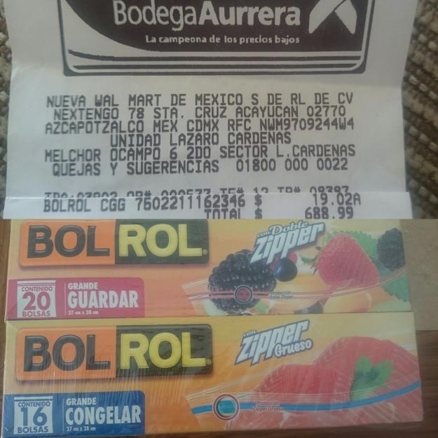 Bodega Aurrerá Lázaro Cárdenas Michoacán: bolsas para alimentos Bol Rol a $19.02