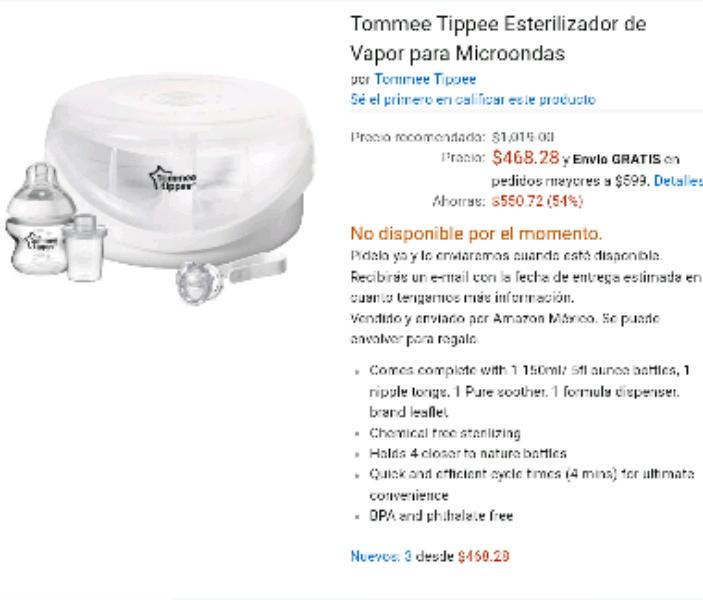 Amazon: Tommee Tippee Esterilizador de Vapor para Microondas