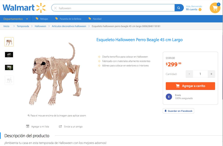 Walmart online: Perro Esqueleto en Liquidación, de $599 a $299