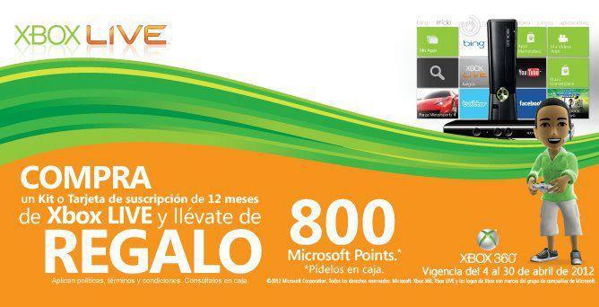 800 Microsoft Points gratis al comprar suscripción a Xbox Live Gold