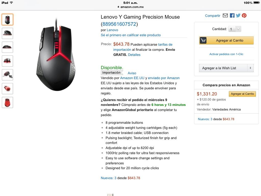Amazon MX: Lenovo Y Gaming Precision Mouse