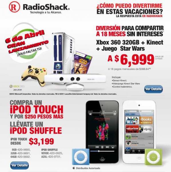RadioShack: iPod Shuffle a $250 en la compra de iPod Touch, 18 MSI en Xbox 360 Star Wars Kinect y más