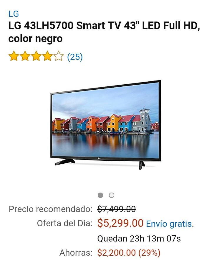 Amazon MX: Television LG 43 pulgadas 43LH5700 Smart Tv a $5299
