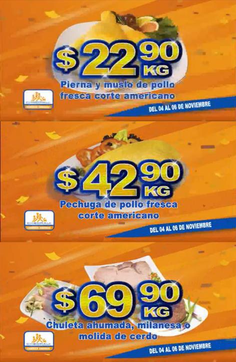 Chedraui: Fin de semana de Carnes: Pierna y muslo de pollo $22.90 kg; Pechuga de pollo $42.90 kg; Chuleta ahumada o milanesa o molida de cerdo $69.90 kg