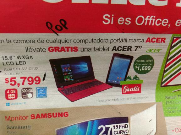 Office Depot del Valle: tablet gratis en la compra de laptop Acer