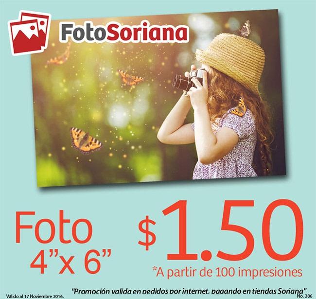 """Soriana: Foto 4"""" x 6"""" $1.50 a partir de 100 impresiones en FotoSoriana por Internet"""