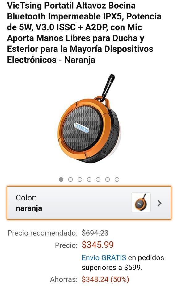 Amazon México: VicTsing Bocina Bluetooth Impermeable IPX5, Altavoz Portátil, Potencia de 5W, Micrófono Manos Libres para Ducha y Exterior