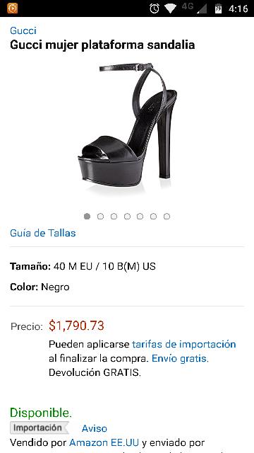 Amazon: Gucci mujer plataforma sandalia