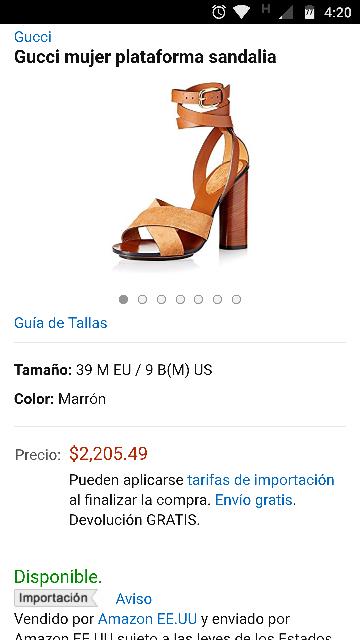 Amazon: Gucci mujer plataforma sandalia marron