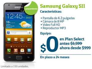Movistar: Samsung Galaxy SII gratis en plan Select de $999 a 24 meses