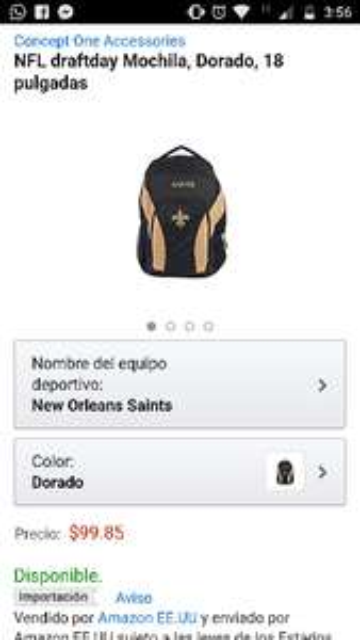 Amazon: NFL draftday Mochila, Dorado, 18 pulgadas