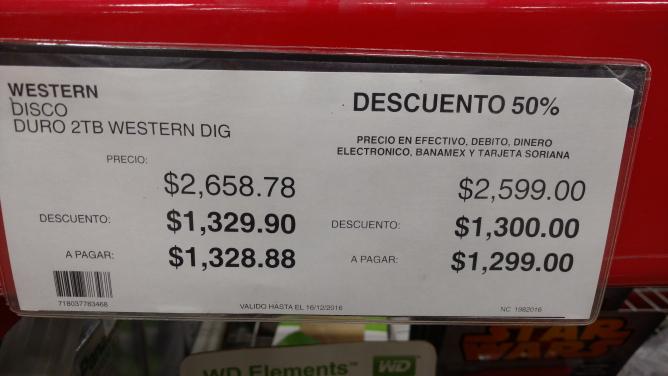 City Club Leon: Disco duro western digital 2tb $1,299