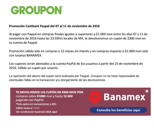 Groupon: Cupon Cashback $300 en compras mayores a $1,000 con Banamex a 12msi
