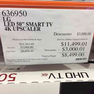"Costco: pantalla Smart TV LG UHD 50"" modelo 50uh5500"