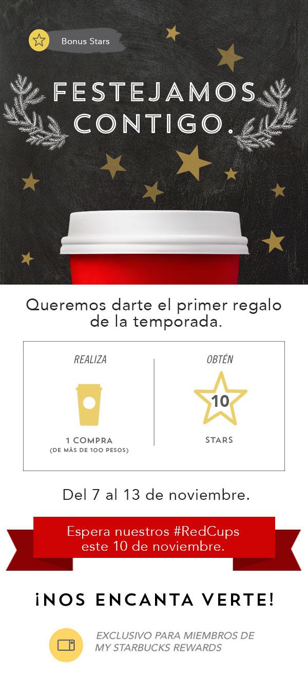 Starbucks Rewards: Haz una compra (mayor a $100) y obtén 10 stars