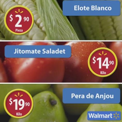 Walmart: Martes de Frescura 08 Noviembre: Elote $2.90 pza; Jitomate Saladet $14.90 kg; Pera de Anjou $19.90 kg. y carnes