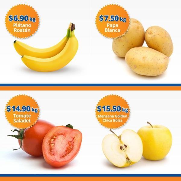 Chedraui: Martimiércoles de Frutiverduras 8 y 9 de Noviembre: Plátano $6.90 kg; Papa $7.50 kg; Jitomate $14.90 kg; Manzana Golden Bolsa $15.50 kg.