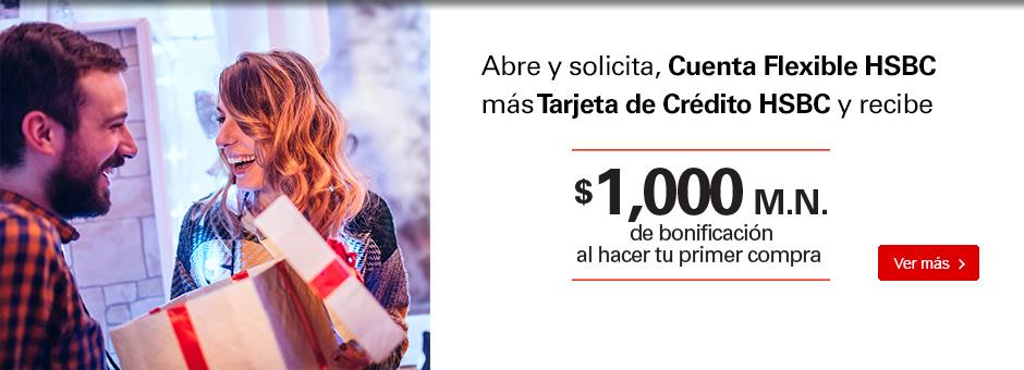 HSBC: $500 por abrir cuenta o sacar tarjeta de crédito