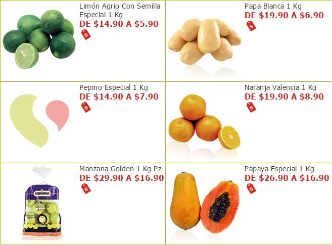 Soriana Híper y Súper: Martes 8 Noviembre: Limón $5.90 kg; Papa $6.90 kg; Pepino $7.90 kg; Naranja $8.90 kg; Papaya $16.90 kg; Manzana Golden Bolsa $16.90 kg.