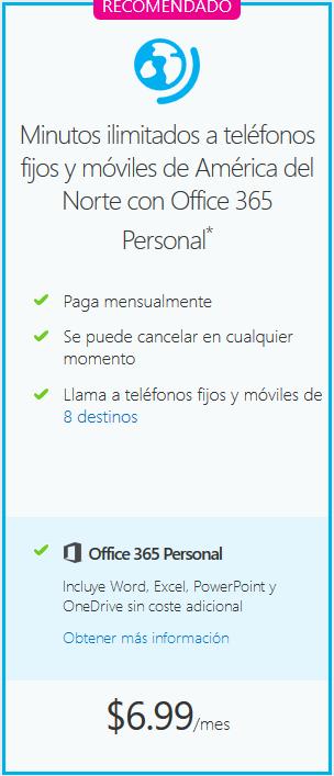 Skype: Minutos ilimitados a fijos y móviles + Office 365 po4 $129 al mes