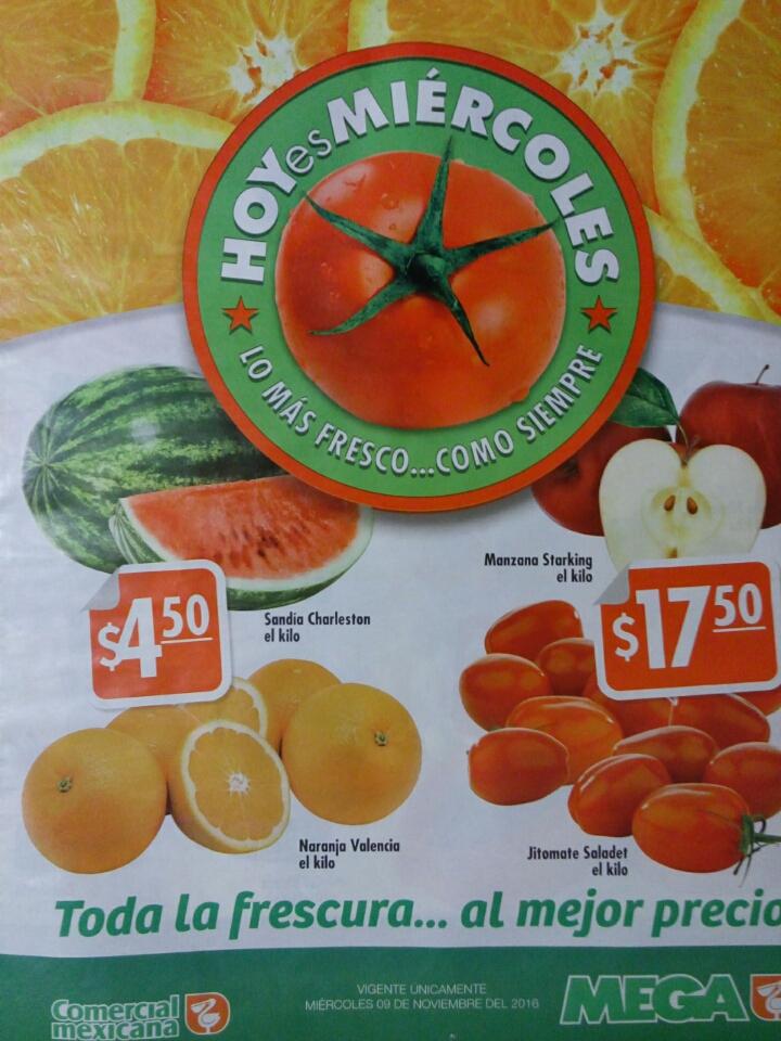 """""""Hoy es Miércoles"""" 9 de Noviembre Comercial Mexicana y Mega: Naranja Valencia y Sandía Charleston $4.50 el kilo y más"""