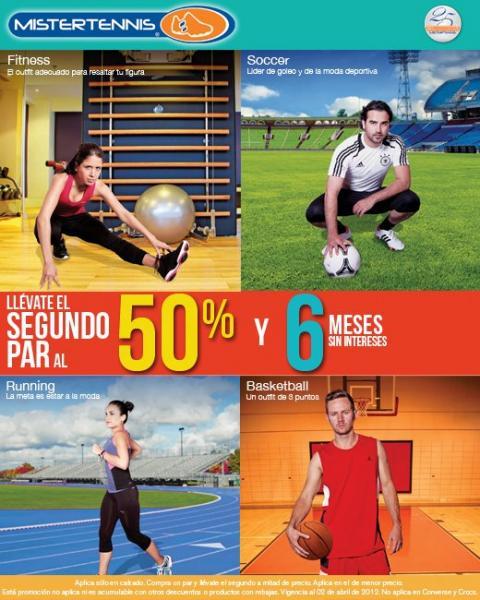 Mister Tennis: segundo par al 50% de descuento y 6 meses sin intereses