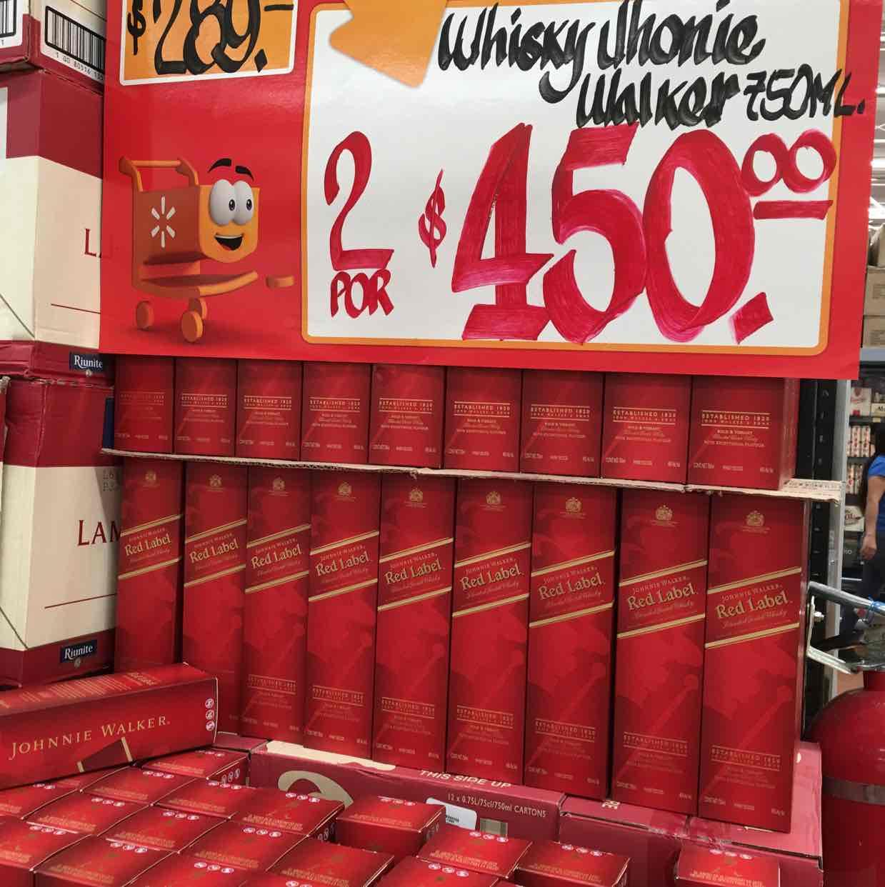 Walmart: 2 botellas de whisky Johnnie Walker por$450