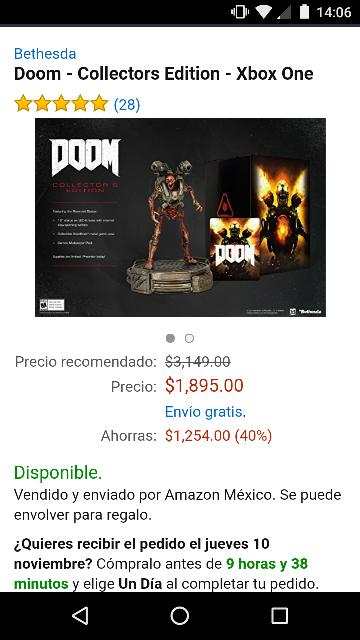 Amazon: Doom Collectors Edition Xbox One a $1,895