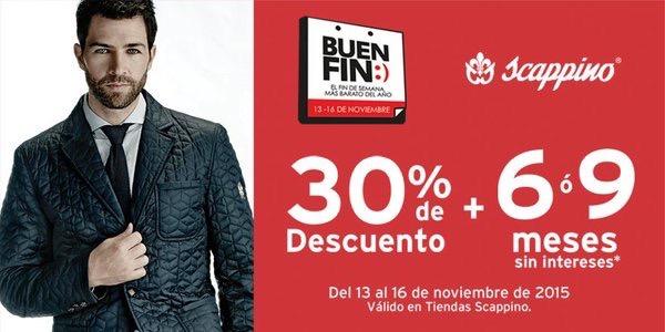 Promociones del Buen Fin 2016: Scappino 30% de descuento y hasta 9 MSI