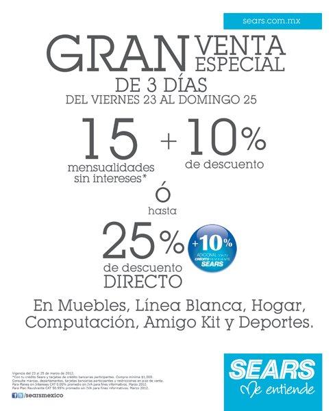 Sears: 15 MSI y 10% de descuento o 25% en muebles, computación y más