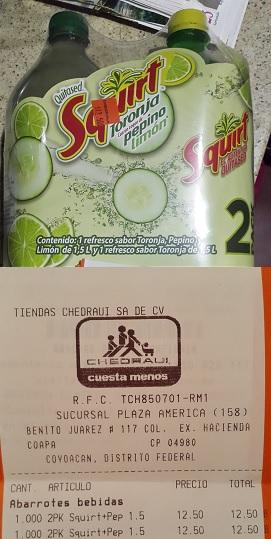 Chedraui Plaza América: Pack de 2 Squirt (1 Toronja y 1 de Toronja/Pepino/Limón) de 1.5 L cada pack de $25 a $12.50