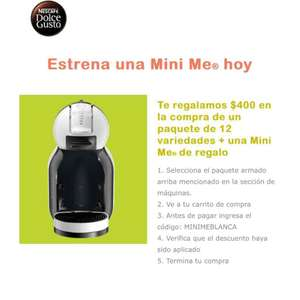 Dolce Gusto: Nescafe MiniMe con 12 cajas, descuento de $400 con cupón