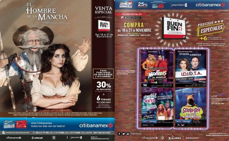 Buen Fin 2016: Descuentos en obras de teatro en taquilla y Ticketmaster