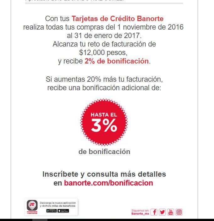Banorte: recibe hasta el 4% del total de tus compras de noviembre a enero.