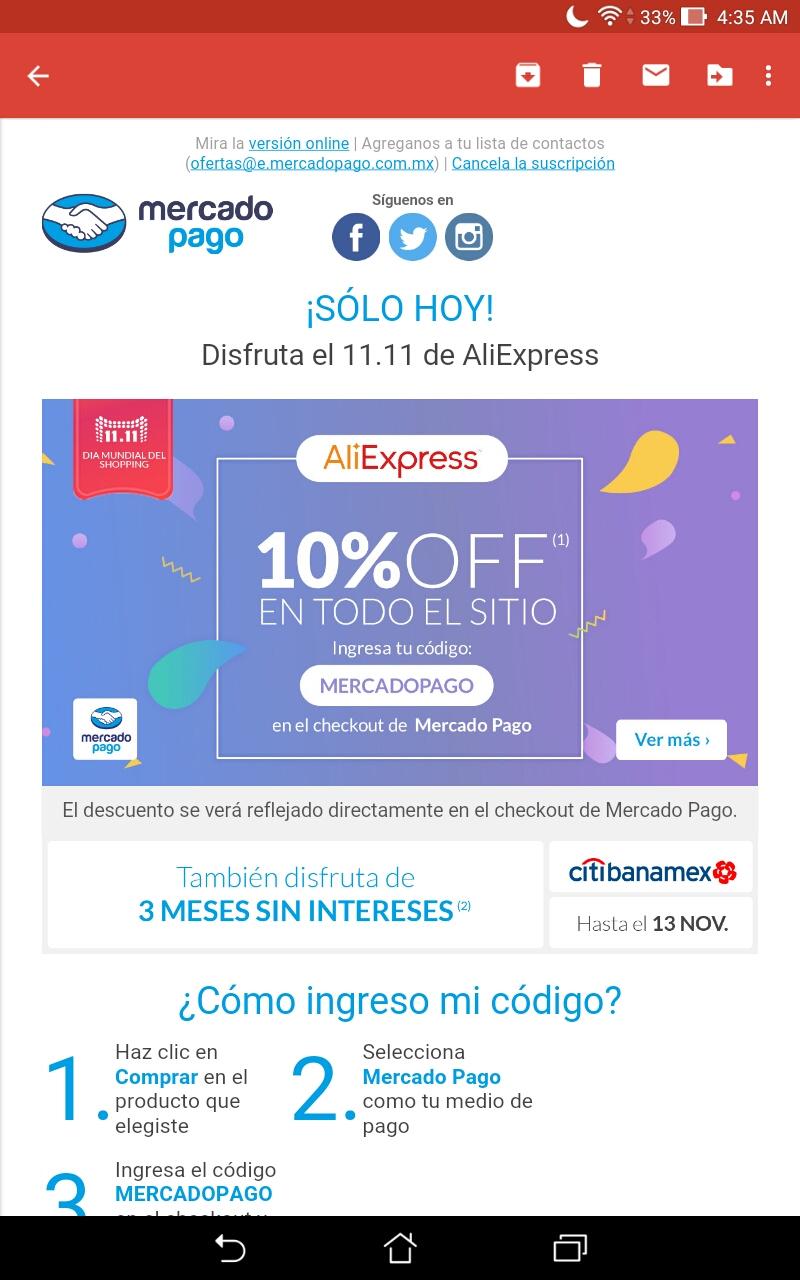 MercadoPago: Cupón 10% de descuento Aliexpress pagando con mercado pago