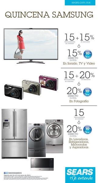 Sears: descuentos y meses sin intereses en tecnología y línea blanca Samsung