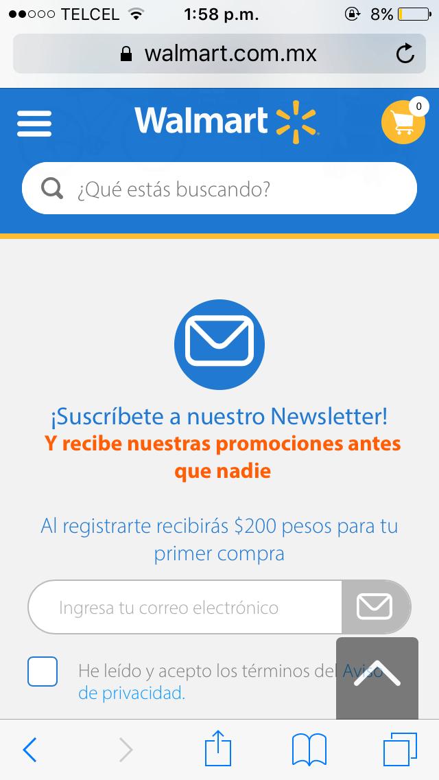 Walmart: Cupón newsletter ahora es de $200