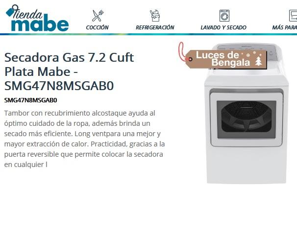 Tienda Mabe: 28% + 20% de descuento en Secadora Gas 7.2 Cuft Plata Mabe + Cupón de $100