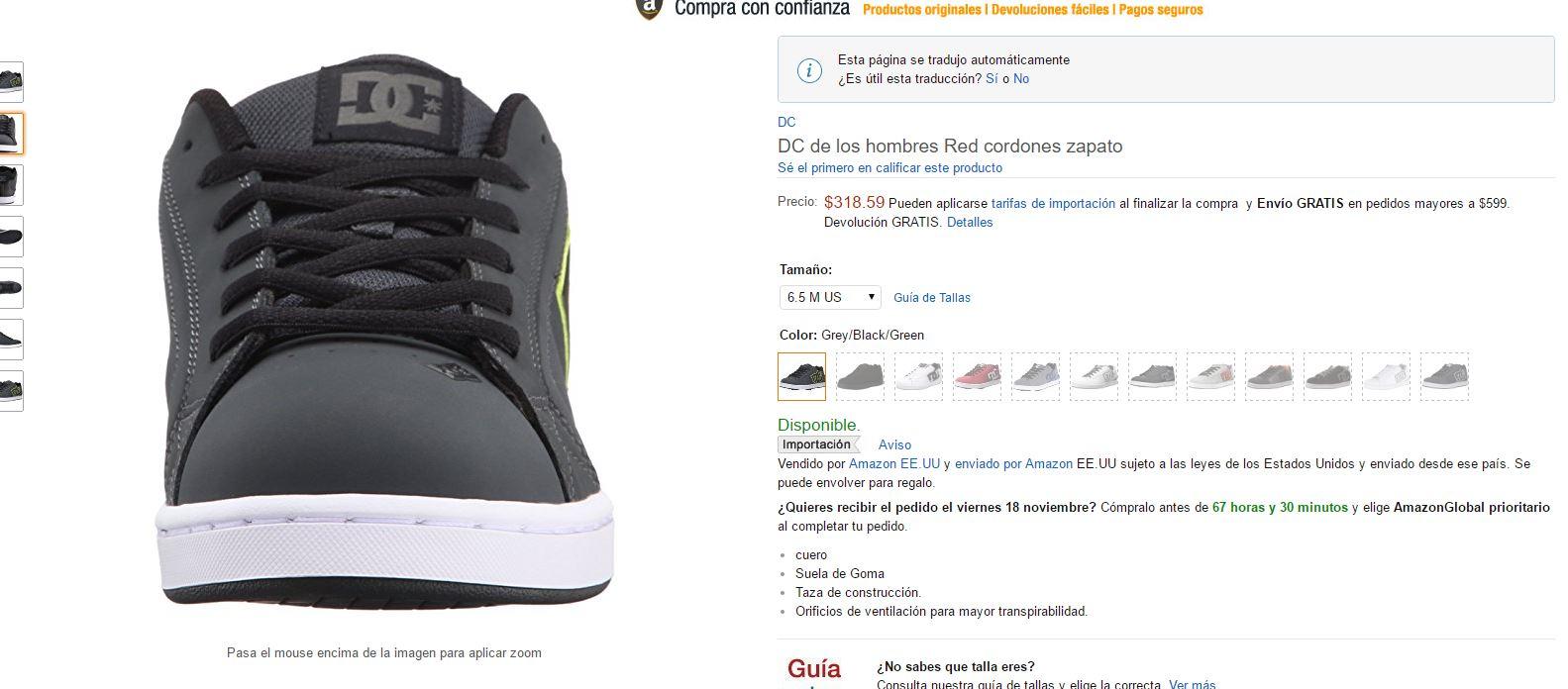 Amazon: DC Men's Net Lace-Up Shoe del chiquitito y medio (6.5 M US)
