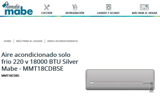 Tienda Mabe: 32% de descuento en Aire acondicionado solo frio 220 v 18000 BTU (1.5Ton) Silver Mabe + Cupón de $100