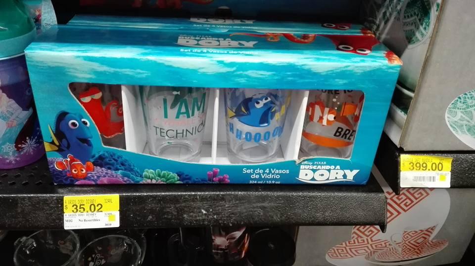 Walmart Tuxtla: vasos de cristal buscando a Dory