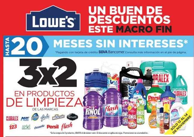 Pre Buen Fin 2016 en Lowe's: 3x2 en productos de limpieza y más