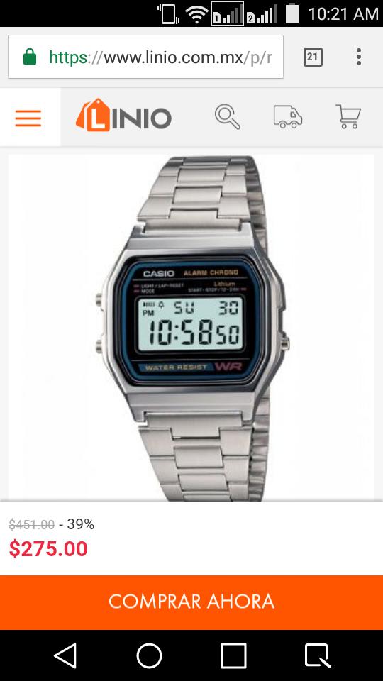 Linio: Reloj Casio Vintage A158 Plata a un excelente precio