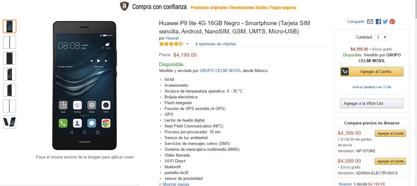 Amazon: Huawei P9 lite 4G 16GB Negro (vendido y enviado por un tercero)