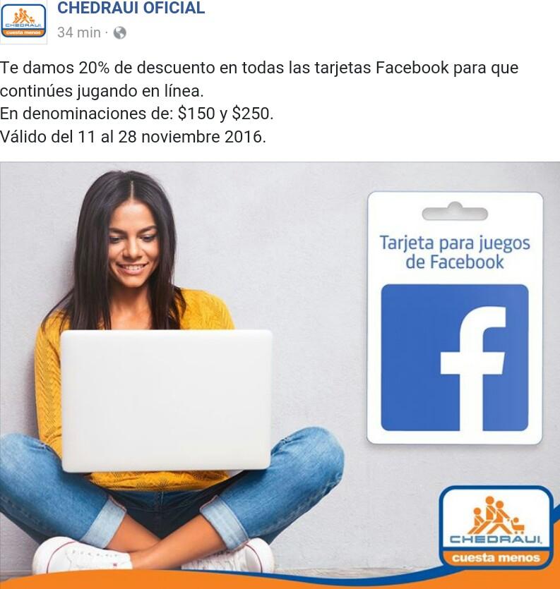 Chedraui: 20% de descuento en tarjetas facebook