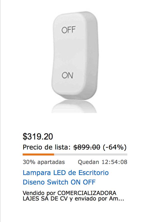 Amazon MX: (Oferta Relámpago) Lampara LED de Escritorio Diseno Switch ON OFF