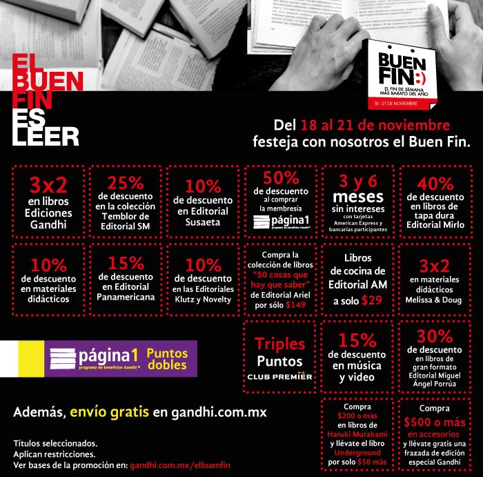 Promociones del Buen Fin 2016 en Librerías Gandhi